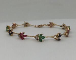 Designer 10k Yellow Gold Ruby Green Emerald Blue Sapphire Diamond Link Bracelet