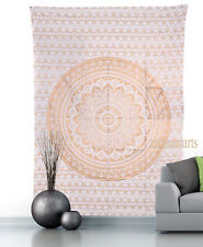 Twin Size Indian Mandala White Gold Wall Hanging Tapestry Cotton New Bedspread