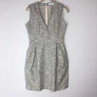 Adam Lippes White & Black Dress Cotton Career Dress Pockets Lined Size 6