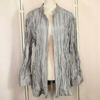 New Chicos Gray Clearly Crinkle Jacket Size 3 Womens XL 16 Open Front Nwt