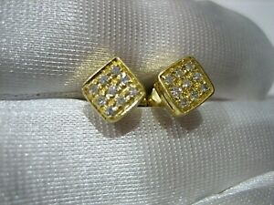 ESTATE VINTAGE ART DECO 18K YELLOW GOLD DIAMOND SCREW BACK STUD EARRINGS