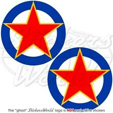 "YUGOSLAVIA Yugoslav AirForce Aircraft Roundel 75mm(3"") Vinyl Stickers, Decals x2"