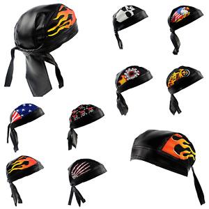 SKULL CAP Biker Cotton Faux Leather Motorcycle Bandana Head Wrap Du Do Rag Black