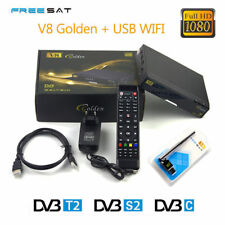Freesat V8 Golden combo receptor DVB-S2/T2/C 1080P HD Satellite TV  Receiver