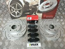 FRONT DRILLED GROOVED BRAKE DISCS & BREMBO PADS HONDA CIVIC TYPE R FN2