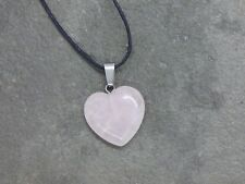 Rose Quartz heart pendant crystal necklace healing stone gift for her in giftbag