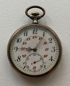 Schöne Herren Taschenuhr Lepine Uhr REVUE G.T 800er Silber Gehäuse 48mm