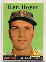 1958 Topps #350 Ken Boyer VG-VGEX- Crease St. Louis Cardinals FREE SHIPPING