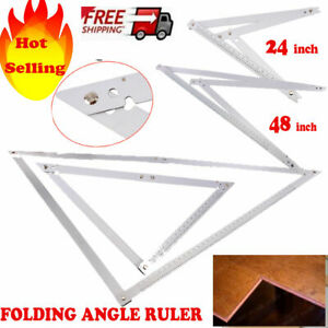 Large 24in 48in Builders Folding Angle Floor  Ruler Aluminium Layout Work