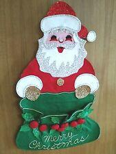 Vintage Kitsch Handmade Sequin/Felt Santa Christmas Card Holder