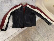 Wilsons Leather Julian Black Maroon Cafe Racer Striped Motorcycle Jacket MEDIUM