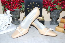 SAKS FIFTH AVENUE ITALY BEIGE LEATHER CLASSIC WOMEN'S PUMP HEEL SHOES SIZE 7.5 M