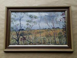 Australian Artist Oil on Board Annette Barrette Frankel 1982 Landscape 38x23cm