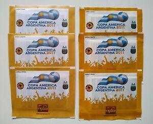 6x Panini Copa America 2011 Yellow  Version Packet Bustina sealed