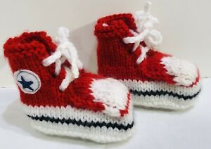 Crochet Knit Red Converse High Top Baby Booties 3-6 Months NEW