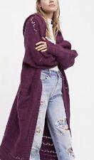 Free People Maxi Sweater Coat Purple Hooded Sand Dollar Cardigan Oversize S NEW