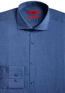 NWT HUGO Red Label By Hugo Boss Sharp Fit Long Sleeve Polka Dot Dress Shirt