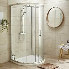 Bathroom D Shape Door Glass Shower Enclosure 3 Sided Cubicle & D Shaped Tray
