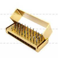 New 30X Dental Diamond Burs Drill+Disinfection Bur Block High Speed Handpiece