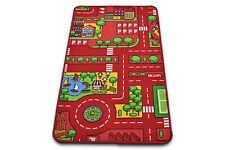 Kids Play Mat Non-Slip Large Red City Rug Children Playmat Road Car Mats Carpet