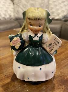 """Vintage Goldilocks 7.5"""" Napco Nursery Rhyme Planter A1720E Dated 1956"""