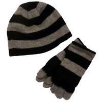 Faded Glory Girls Silver & Black Stripes Metallic Hat & Gloves Beanie Set