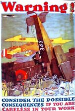 'AVIATION WARNING' [Aviator Pilot] Classic Metal Aviation Advertisement
