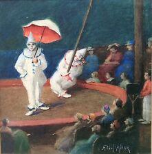 Ethel Flache cirque clowns 20th Siècle Original Aquarelle requalifiés