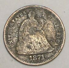1871 Seated Liberty Half 1/2 Dime 5 Cents Silver Coin