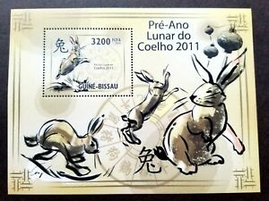 [SJ] Guinea Bissau Year Of The Rabbit 2011 Chinese Lunar Zodiac (ms) MNH