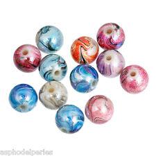 10 perles acryliques rondes multicolores peinte main 12 mm