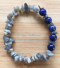 Gemstone Natural Crystal Grey Moonstone Lapis Lazuli Beads Stretchy Bracelet