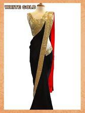 UK Indian Women Wedding Engagement Sari Gold Border Black Color Bollywood Saree