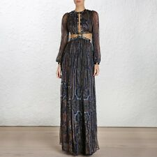 **ZIMMERMANN** Esplanade Rivet Cutout Silk Maxi Dress Gown