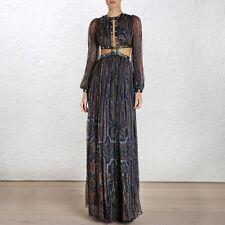 ** Zimmermann ** Esplanade Rivet découpe de soie robe longue robe