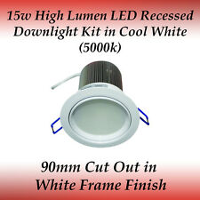 15 watt LED Recessed Downlight Kit in Cool White with White Frame