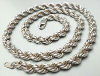 6 mm breite Vintage Kordelkette Collier 925 Silber Italien 80er Jahre 51 cm lang