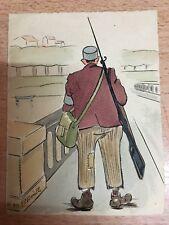 petite aquarelle & crayon signé Merèlle daté oct 1939 départ à la guerre