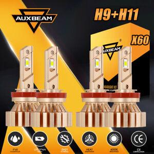 AUXBEAM 4PCS H11 H9 H8 Fanless LED Headlight Bulb Kit Low Beam and Fog Light X60