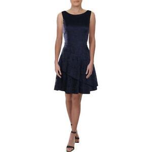 Speechless Womens Navy Lace Overlay Tiered Scuba Dress Juniors 11 BHFO 0063