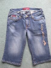 Baby Phat Jean Co Capri cropped denim jeans brodé design taille 5 US