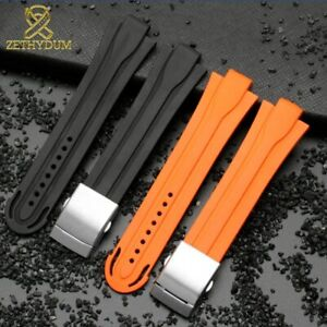 Rubber Watchband Waterproof Silicone 24mm*12mm For O-ris AQUIS 7740 Mens Watches