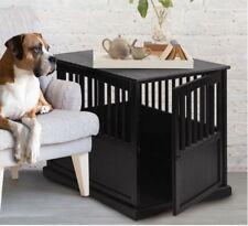 Dog Crate End Table Solid Wood Pet Kennel Cage Indoors Stylish Safe Black Large