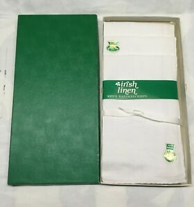 Vintage Box of 3 Irish Linen Men's Handkerchiefs Hand Rolled Portugal New in Box