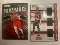 2015/16 Panini Threads Triple Threat Dame Lillard 181/199 + 2019 Dominance Prizm