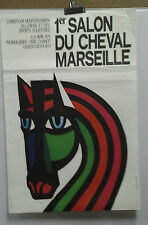 AFFICHE ORIGINALE ANCIENNE 1er SALON DU CHEVAL MARSEILLE AUDIAS & TALANONI 1975