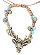 cute bronze coloured deer bracelet, adjustable, blue colured beads