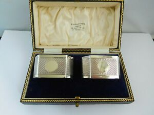 SUPERB CASED ART DECO ENGLISH STERLING SILVER ENGINE TURNED NAPKIN RINGS