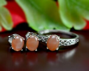 925 Sterling Silver Natural Pink Moonstone Gemstone Jewelry Ring Earring Set