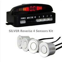 SILVER 4 Sensors Buzzer Display Audio Alarm Car Reverse Parking Radar Parktronic